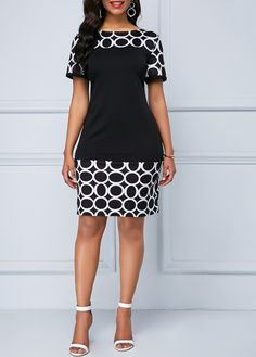Circle Print Boat Neck Short Sleeve Dress | Rosewe.com - USD $30.72