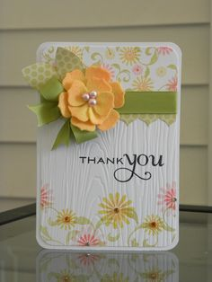 Thank You Card - Cute embossed decorative paper with flowers