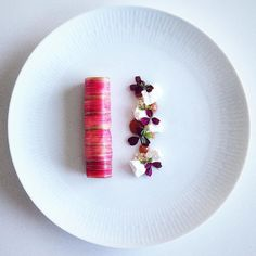 Rhubarb cannelloni with a rhubarb mousse, rhubarb purée, meringue & crystalized white chocolate Rhubarb Desserts, Rhubarb Recipes, Michelin Star Food, Cannelloni, Mousse Dessert, Best Dishes, Food Plating, Gastronomia, Plated Desserts