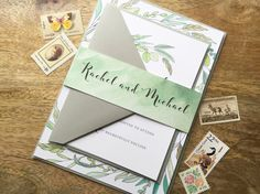 Leafy Calligraphy Wedding Invitation Sample