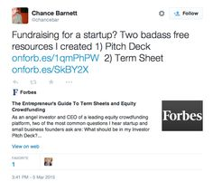 Fundraising for a startup? Two badass free resources I created 1) Pitch Deck http://onforb.es/1qmPhPW   2) Term Sheet http://onforb.es/SkBY2X