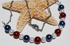 Pearl Bar Necklace Patriotic Red White & Blue by ornatetreasures, $24.00