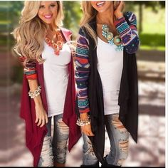 Printed sleeve Draped cardigan- black &Burgundy Beautiful Print sleeves cardigan in black and Burgundy . Please see 2nd and 3rd pic for exact color . 🚩 96% rayon and 4% spandex . Sweaters Cardigans