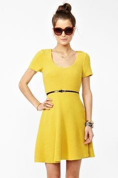 Slanted Skater Dress - Yellow  Was $68.00 Now $47.60
