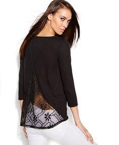 INC International Concepts Three-Quarter-Sleeve Lace-Back Sweater