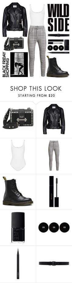 """Geen titel #422"" by stuart-l ❤ liked on Polyvore featuring Prada, Acne Studios, Wolford, Balmain, Dr. Martens, Gucci, NARS Cosmetics, Edward Bess, MAC Cosmetics and Ann Demeulemeester"