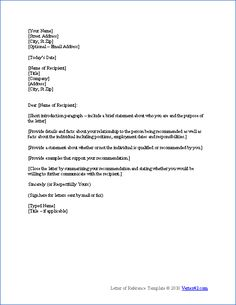 download a free letter of reference template for word view a sample reference letter