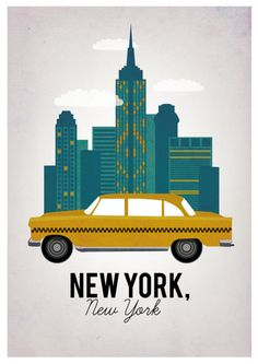 Graphic NYC print, complete with yellow taxi.