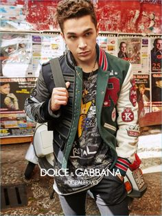 Austin Mahone sports a varsity jacket for Dolce & Gabbana's fall-winter 2017 campaign.