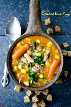 Tomato Chicken Rice Soup is a very comforting soup that is the best remedy for cold. Full of flavors and vitamins! A natural immune system booster!