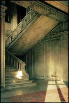 Chateau X by Martino ~ NL, via Flickr  Marble staircase that leads up to stuff that had been left behind.