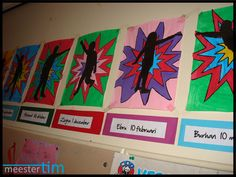 Home - meester Tim. Superhero Classroom, Classroom Themes, School Projects, Art Projects, Art For Kids, Crafts For Kids, Ecole Art, Art Lessons Elementary, School Themes