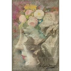 Flower Dreams Digital Collage Greeting Card (Suitablefor Framing) (6.66 CAD) ❤ liked on Polyvore featuring home, home decor and stationery