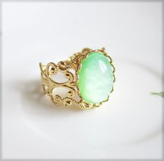 Mint Green Gold Ring - Jewelsalem, $6.99