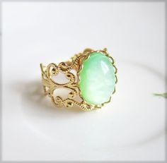 Mint Green Gold Ring - Jewelsalem, $6.99