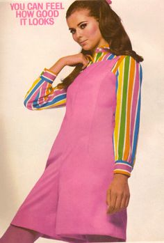 60s Fashion. A colourful blouse can really spice up a boring dress