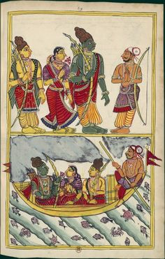 Rama, Sita and Lakshmana meet the boatman Guha the Ganges. Album 132 illustrations of Ramayana. Masulipatam (Andhra) and Karaikal (Tanjore), between 1727 and 1758