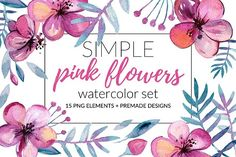 Simple Pink Flowers Watercolor Set by Bibela on @creativemarket #afflink