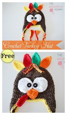 Crochet Beanie Patterns Turkey Hat Free Crochet Pattern - A turkey crochet hat will definitely put a smile on anyone's face. Here are a few Turkey Hat Free Crochet Patterns we have compiled for you to pick from. Crochet Baby Hat Patterns, Crochet Beanie Pattern, Crochet Kids Hats, Crochet Fall, Halloween Crochet, Holiday Crochet, Free Crochet, Crocheted Hats, Booties Crochet