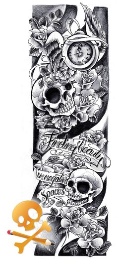 Commission - Skulls sleeve by Willem A commission for Lee. Skulls with roses. (The top is cut out straight due to an existing tattoo. [img]http://e.deviantart.net/emoticons/w/wink.gif[/img] )