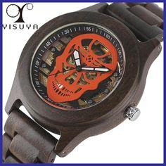 YISUYA Luxury Automatic Mechanical Mens Watch Unique Steel Skull Skeleton Clock Natural Full Wooden Bangle Sport Reloj de madera