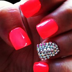 For your nails?The acrylic vs gel nails thread got me wondering what colors other brides are going with. I'm going with a bright red (OPI The Thrill of Brazil). Love Nails, Pink Nails, How To Do Nails, Pretty Nails, My Nails, Neon Nails, Bright Nails, Jewel Nails, Vegas Nails