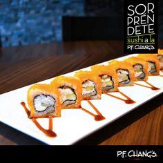 Después de probar nuestro delicioso SUSHI SUSHINE, no serás el mismo.   Imagina una rica combinación de pepino, queso crema, róbalo al limón y cubierta de masago. ¡Visítanos en P.F. Chang's Mérida!