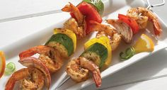 Grill Mates Baja Citrus Marinade flavors shrimp and vegetable kabobs with citrus, chili peppers and cilantro.