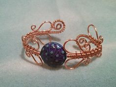 Copper Wire Wrapped Wrapping Bracelet with Mood Bead