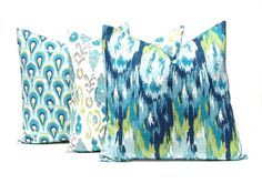 Throw Pillow Covers Turquoise Pillows by FestiveHomeDecor on Etsy