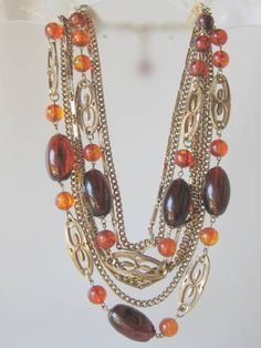 Vintage Multi Strand Beaded Necklace by AntiquesduJour on Etsy, $22.00
