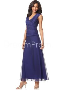Sleeveless Sheath V-neck Ankle-length Mother of the Bride Dresses  I like this look!