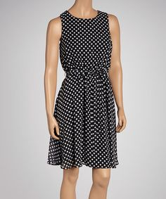 Take a look at this Black & Ivory Polka Dot Sleeveless Dress by Paperdoll on #zulily today!