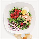 Tuna, Arugula, and Egg Salad with Pita Chips Recipe | MyRecipes.com