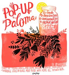Bon Voyage Cocktail Party Recipes: A Pop-Up Paloma with beer and tequila by Oh So Beautiful Paper, Illustration by Dinara Mirtalipova