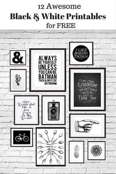 12 Free Black and White Printables great for using in your gallery wall. Curated… 12 Free Black and White Printables great for using in your gallery wall. Curated by Calm & Collected. Free Posters, Free Prints, Printable Wall Art, Diy Art, Free Printables, Free Printable Quotes, Printable Recipe, Crafty, Free Black