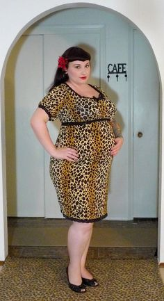 Brown and tan leopard print bombshell maternity dress for the pregnant plus size pinup.