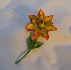 JJ yellow & orange enamel flower pin
