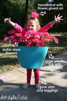 rainbowsandunicornscrafts: DIY Last Minute Halloween Costume: Flower Pot Costume Tutorial from Dukes and Duchesses here. Truebluemeandyou: Or go as a poison ivy or dead/poisonous plants by painting them black/brown. Handmade Halloween Costumes, Fete Halloween, Last Minute Halloween Costumes, Homemade Halloween, Cute Costumes, Holidays Halloween, Halloween Crafts, Happy Halloween, Halloween Decorations