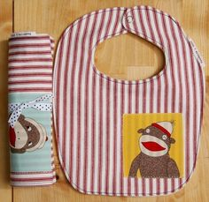 sock monkey bib and burp cloth