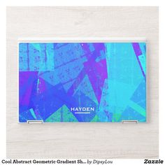 Cool Abstract Geometric Gradient Shades of Blue HP Laptop Skin