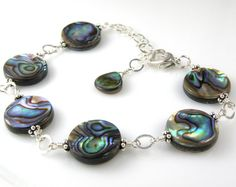 Abalone Bracelet, Shell Jewelry, Flat Round Disc, Paua Shell, Blue Shell, Teal, Sterling Silver, Handmade Custom Beach Jewelry