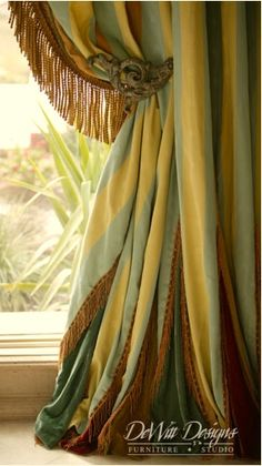 Elegant green and yellow striped #Drapes with fringe and wrought iron old back. Beautiful curtains.  Traditional Home Styel, Southern Home Style. I love designing window treatments