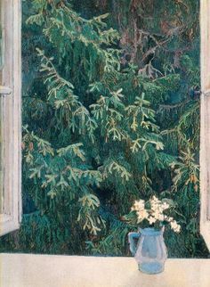 Window, 1896, Maria Yakunchikova. Russian (1870 - 1902). You can almost touch and smell the branches of the conifer outside the window.