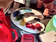 Platón paleta de pinturas para quesos y/o carnes frías o postres en cerámica de Fishs Eddy. (Última pieza) #VivirBonito
