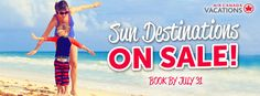 Check out our amazing deals and promotions! Best prices guaranteed for all inclusive and last minute vacation packages for families, couples and singles. Last Minute Vacation, Last Minute Travel Deals, All Inclusive Vacation Packages, July 31, Product Launch, Best Deals, Summer, Books, Last Minute Deals