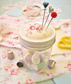 Sewing jar and pin cushion!     I just made two of these.  It was easy and they look great.  One looks like the picture and the other is a short, fat mason jar.