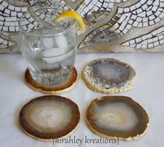 EARTHY AGATE COASTERS  4 Natural Brown by KirahleyKreations, $40.00