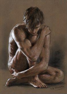 artqueer: Philip Gladstone: Untitled (kneeling male nude),Mixed-media on paper
