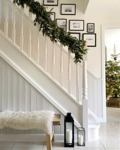 Two days 'til Christmas! We adore this all white look featuring and by ✨ All White Farrow And Ball, Farrow And Ball Living Room, White Staircase, Staircase Design, Paint Color Pallets, Cottage Hallway, Hallway Paint Colors, Paint Colours, Home